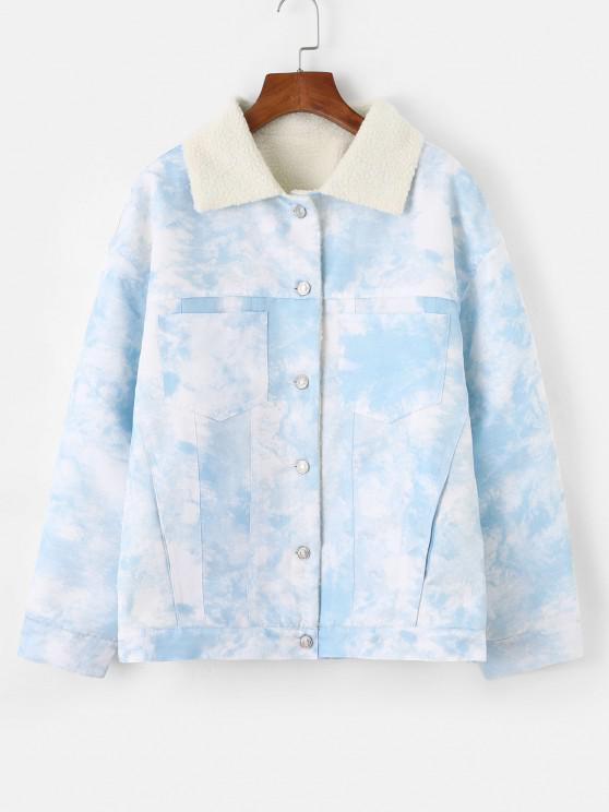Faux Shearling Lining Tie Dye Pocket Coat - أزرق فاتح M