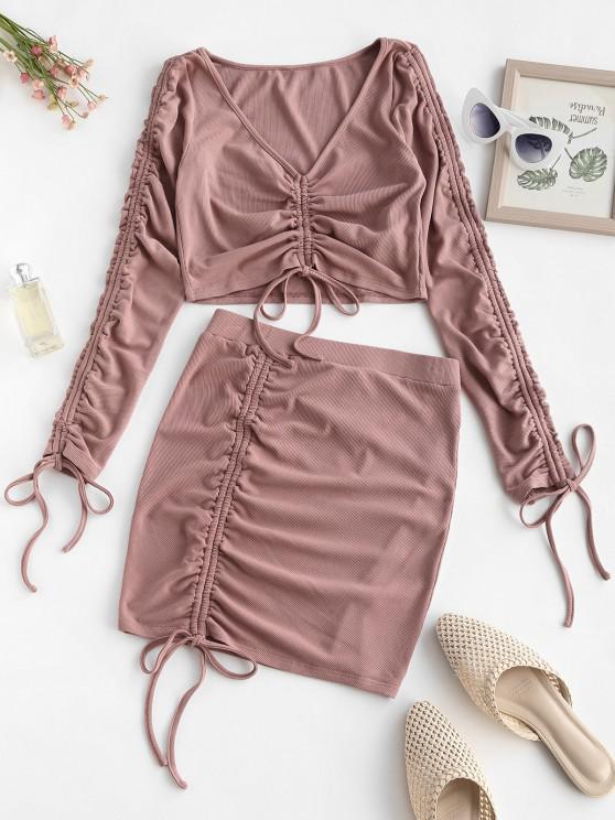 best ZAFUL Ribbed Cinched Two Piece Mini Dress - KHAKI ROSE M