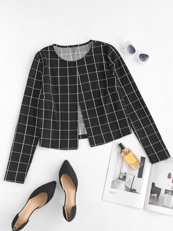 ZAFUL Grid Crop Jacket - أسود S