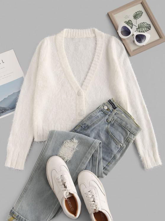 Button Up V Neck Fuzzy Cardigan - أبيض M