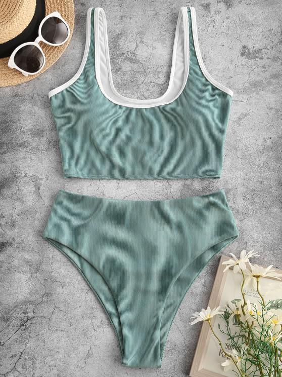 trendy ZAFUL Piping Ribbed Tankini Swimwear - LIGHT GREEN S
