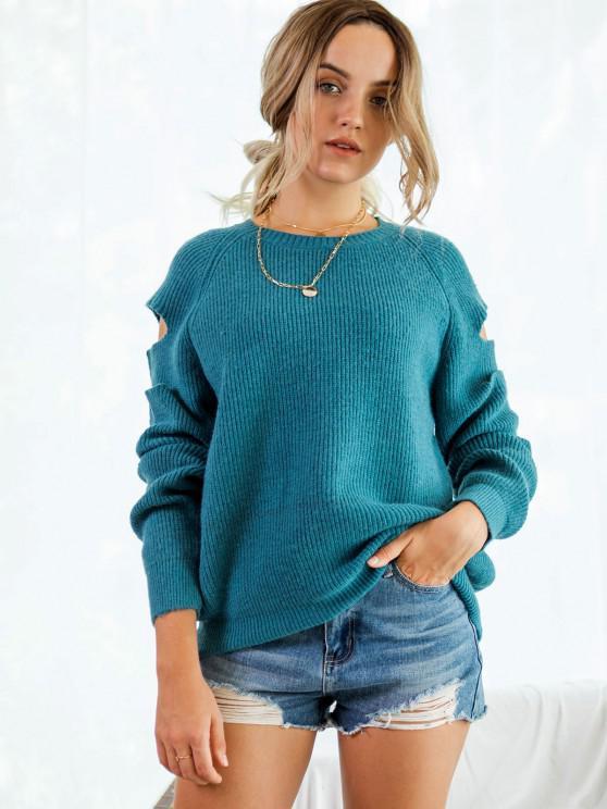 outfits Cutout Raglan Sleeve Jumper Sweater - DEEP BLUE M