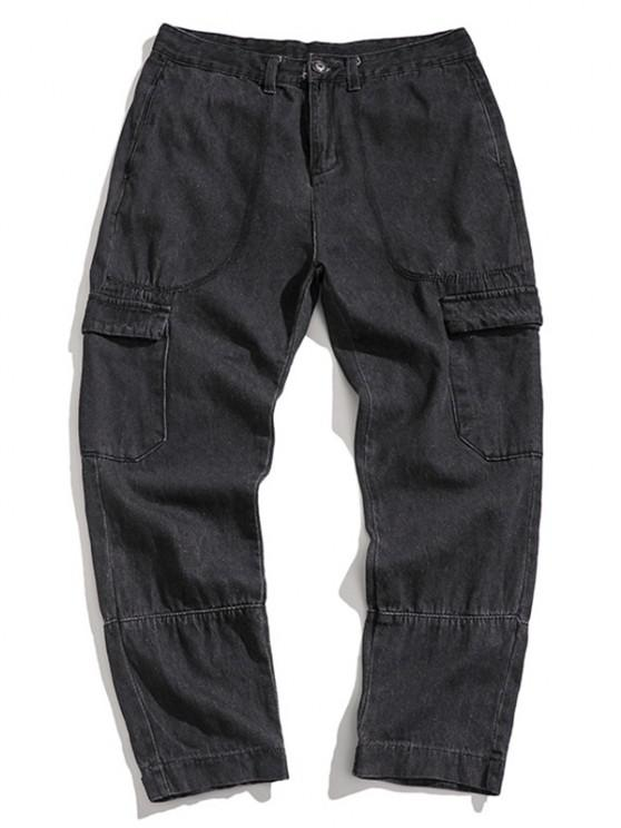 trendy Multi Pockets Hook and Loop Detail Tapered Jeans - DARK GRAY S