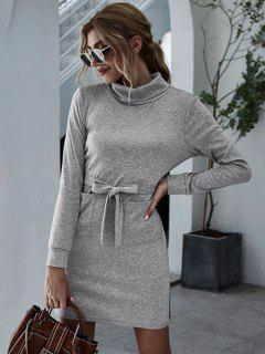 Turtleneck Front Pocket Fitted Jersey Dress - Gray M