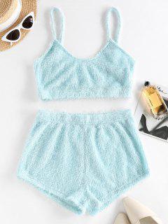 ZAFUL Plain Plush Shorts Set - Light Blue M