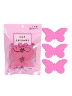 3Pcs Butterfly Dry And Wet Makeup Sponge Set - Watermelon Pink
