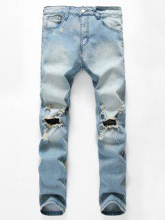 Light Wash Cut Out Distressed Jeans - Light Blue 32