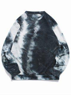 ZAFUL Rose Embroidery Tie Dye Print Sweatshirt - Slate Blue M