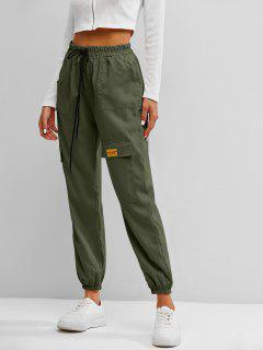 Letter Applique Bowknot Detail Cargo Pants - Green L