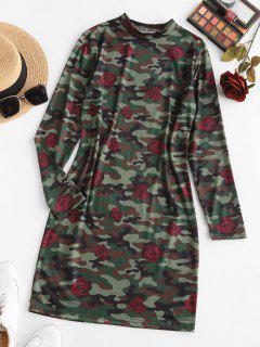 Rose Camouflage Langarm Minikleid - Dunkelgrün M