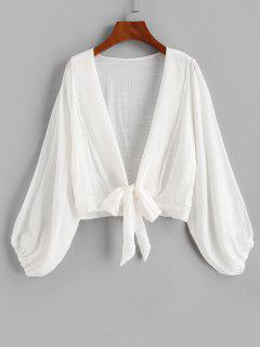 Tie Knot Bishop Sleeve Cover Up Top - White