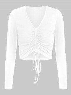 ZAFUL Enrugado Mergulhando Com Nervuras T-shirt - Branco S