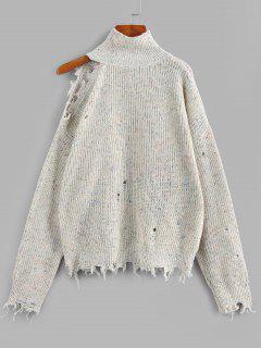 ZAFUL High Neck Distressed Sweater - Multi L