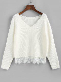 ZAFUL Lace Trim Raglan Sleeve Sweater - White S