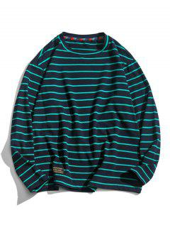 Long Sleeve Stripes Letter Patched T-shirt - Cadetblue 2xl