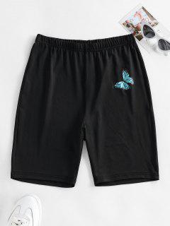 ZAFUL High Waisted Butterfly Print Biker Shorts - Black L
