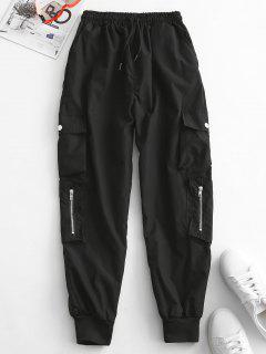 Zippered Pockets Drawstring Cargo Pants - Black 2xl