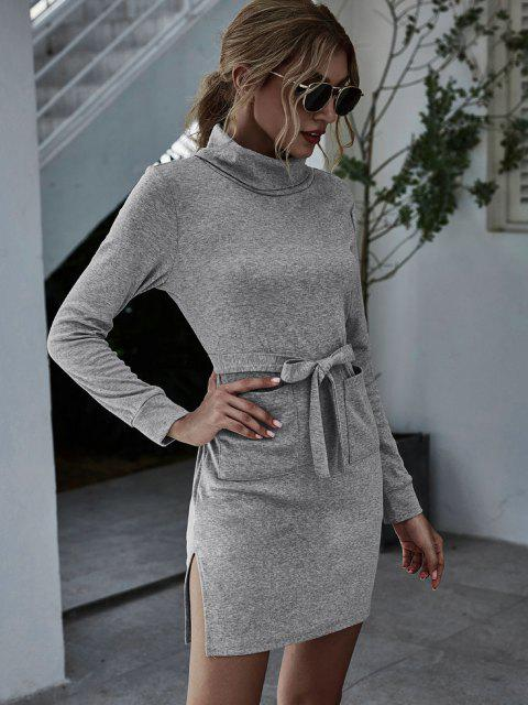 shop Turtleneck Front Pocket Fitted Jersey Dress - GRAY M Mobile
