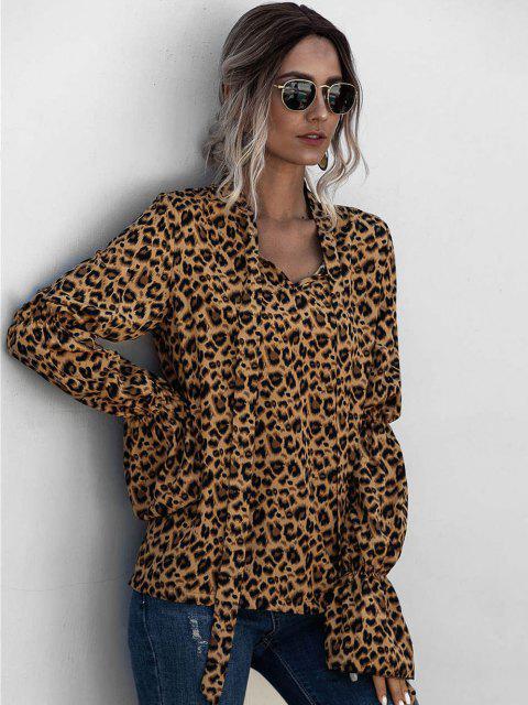 online Leopard Bowtie Collar Ruffle Cuff Blouse - MULTI L Mobile