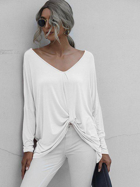 online Drop Shoulder Twisted Oversized Tee - WHITE M Mobile