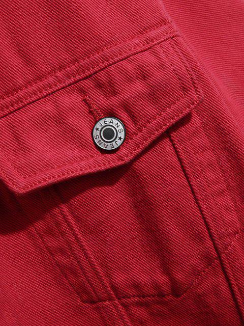 sale Button Up Double Pockets Two Tone Jean Jacket - RED L Mobile
