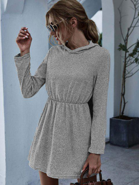 shop Hooded Marled Knit Elastic Waist Dress - GRAY S Mobile