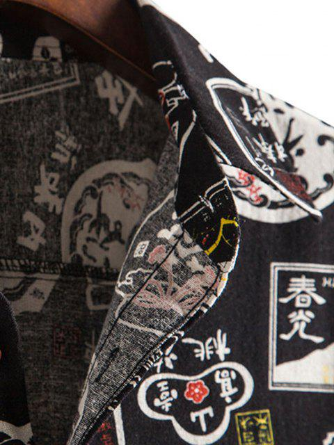 affordable Chinese Characters Pattern Button Up Vintage Shirt - BLACK XS Mobile