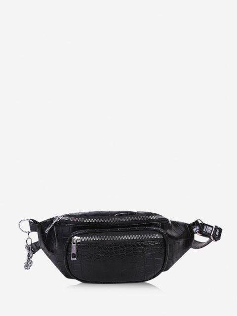trendy Textured Chest Crossbody Bag - BLACK  Mobile