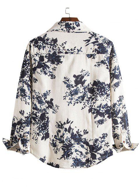 Floral patrón de pulverización de tinta Botón retro encima de la camisa - Azul XS Mobile