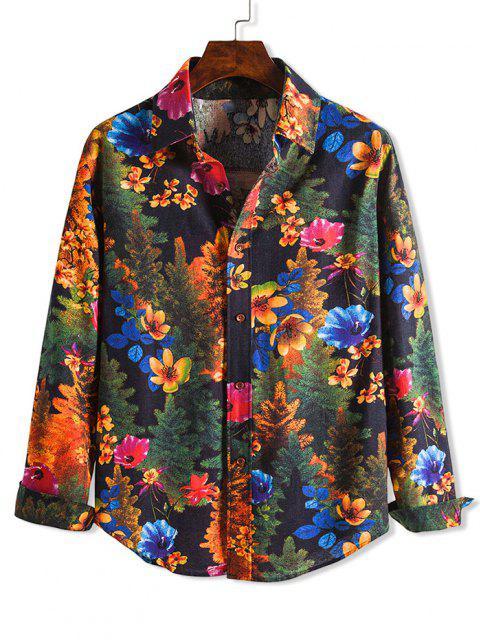 fancy Floral Tree Print Casaul Turn-down Collar Shirt - MULTI XS Mobile