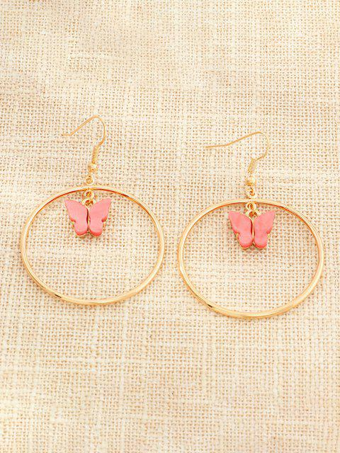 best Butterfly Pendant Circular Earrings - WATERMELON PINK  Mobile