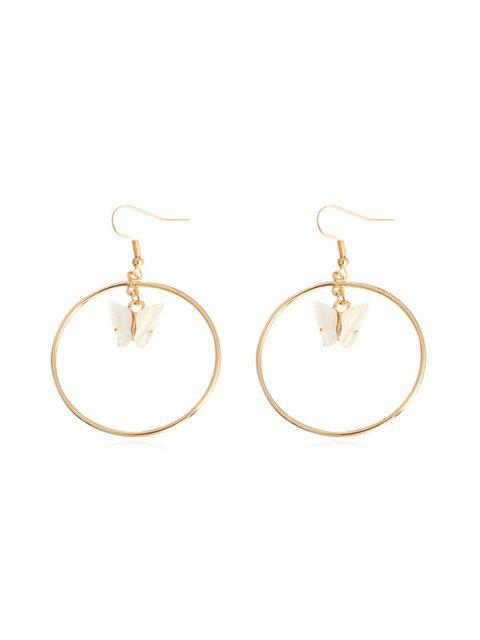 online Butterfly Pendant Circular Earrings - WHITE  Mobile