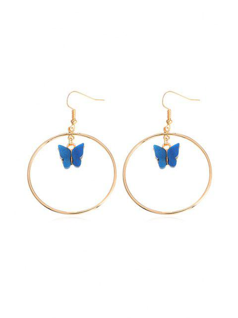 new Butterfly Pendant Circular Earrings - COBALT BLUE  Mobile