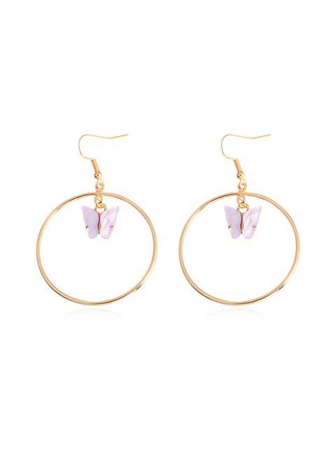 hot Butterfly Pendant Circular Earrings - MAUVE  Mobile
