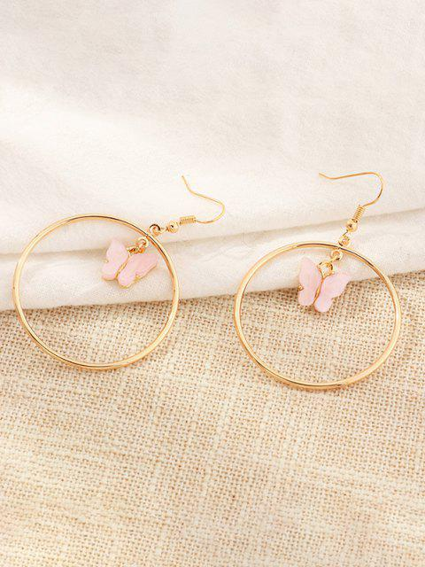 outfit Butterfly Pendant Circular Earrings - LIGHT PINK  Mobile
