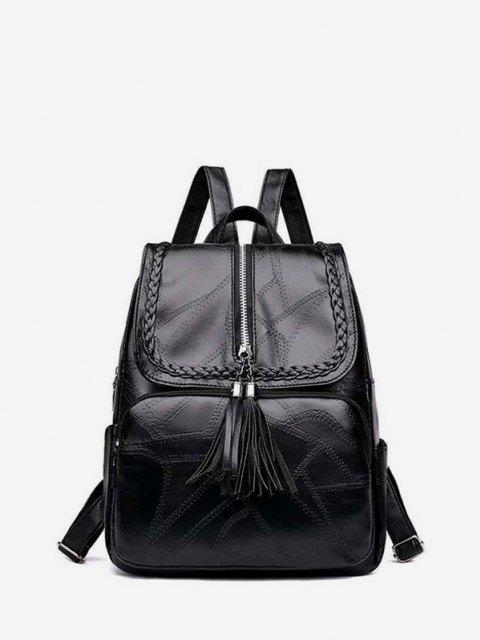 outfits Tassel Quilted Braid Design Backpack - BLACK  Mobile