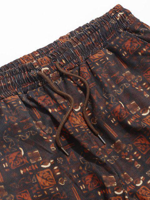 ZAFUL Pantalones de Patrón Tribal - Café Profundo XL Mobile