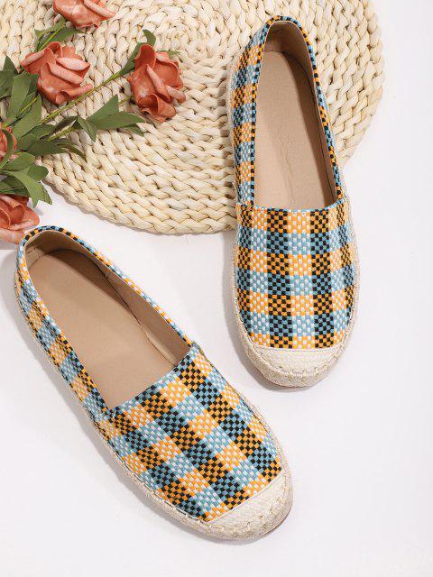 sale Plaid Pattern Colorblock Flat Shoes - MULTI-A EU 40 Mobile