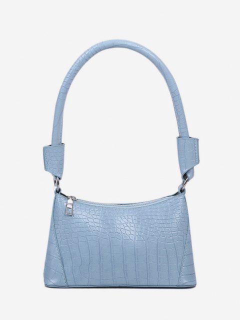 lady Solid Textured Shoulder Bag - LIGHT BLUE  Mobile