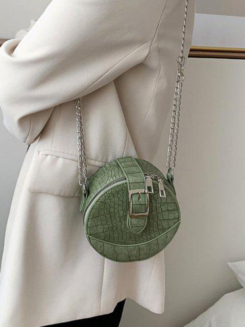 trendy Animal Embossed Buckled Mini Round Crossbody Bag - LIGHT GREEN  Mobile