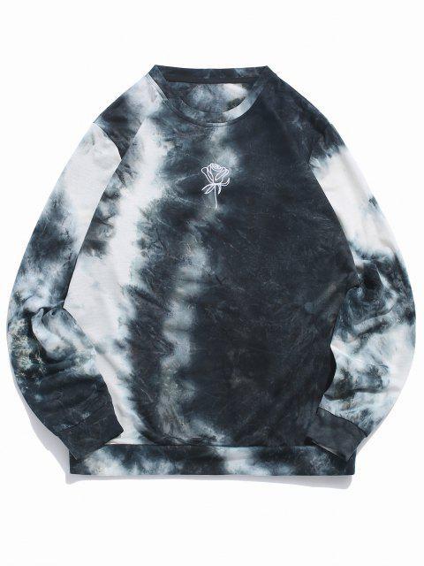 fashion ZAFUL Rose Embroidery Tie Dye Print Sweatshirt - SLATE BLUE M Mobile