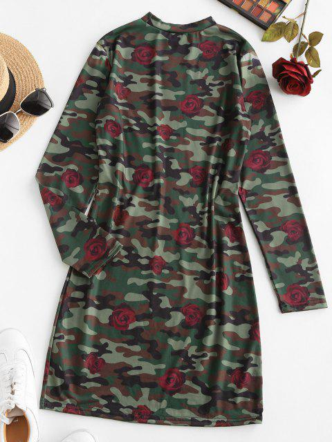 hot Rose Camouflage Long Sleeve Mini Dress - DEEP GREEN XL Mobile
