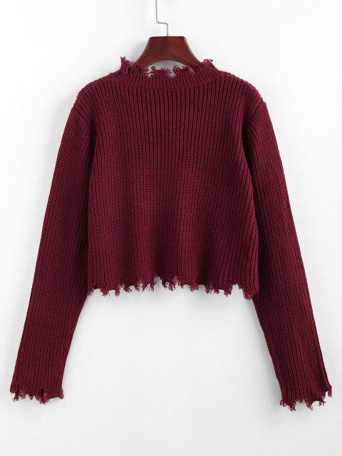 fancy ZAFUL Frayed Crop Jumper Sweater - DEEP RED S Mobile