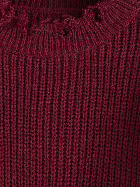 ZAFUL Camisola de Jumper Desgastado Cortado Cortado - Vermelho escuro S Mobile