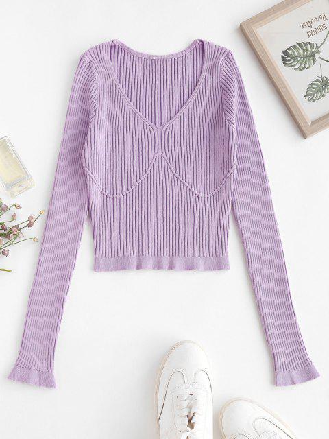 Camisola suéter gola V com nervuras - Cor de Malva Um Tamanho Mobile