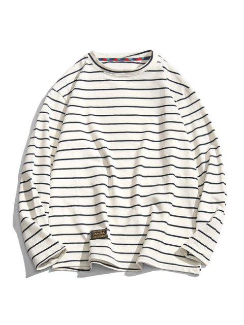 outfit Long Sleeve Stripes Letter Patched T-shirt - WHITE XS Mobile