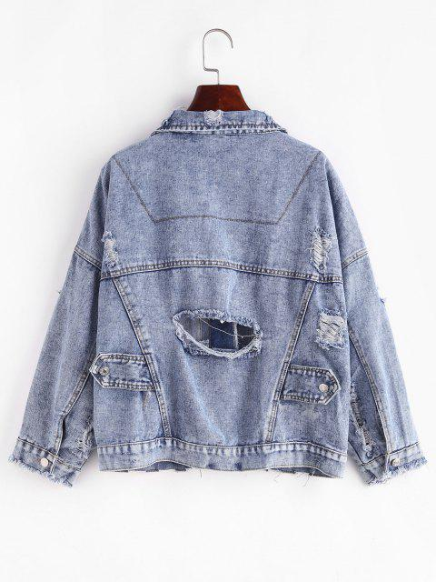 outfits Button Up Frayed Distressed Denim Jacket - BLUE M Mobile