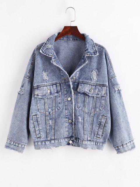 Button Up Frayed Distressed Denim Jacket - أزرق M Mobile