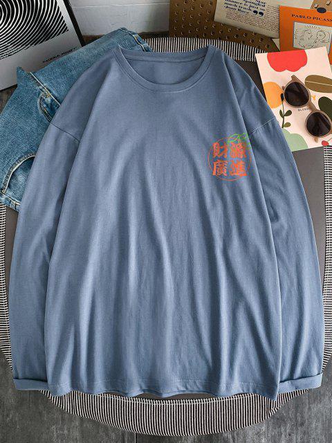 T-shirt de Emagrecimento de Impressão de Letras de Sutura de Manga Comprida - Hera Azul XL Mobile