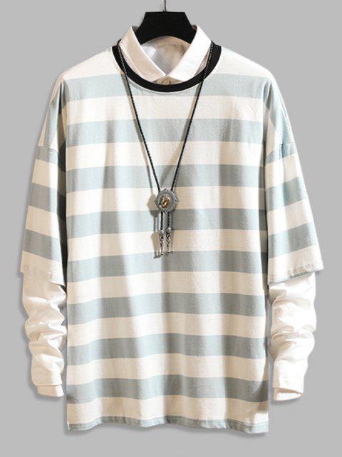 Long Sleeve Stripes Camo T-shirt - أزرق فاتح 3XL Mobile